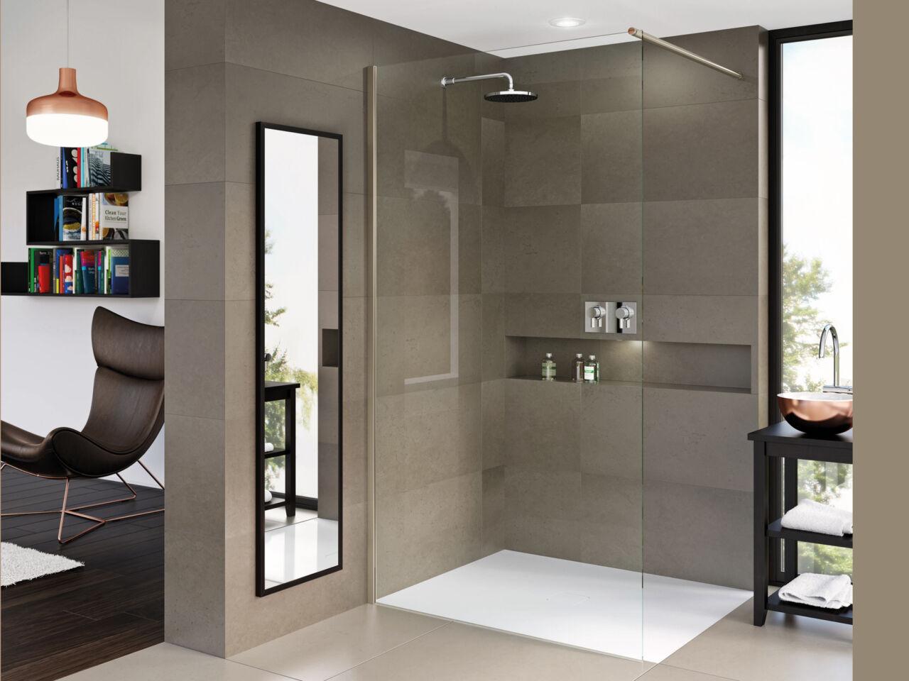 Matki-ONE Wet Room Panel with Wall Brace Bar - Matki