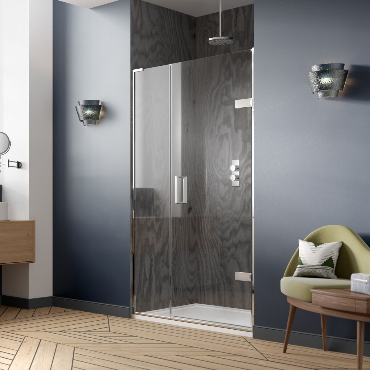 Eauzone Plus Hinged Door From Wall And Inline Panel For