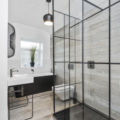 Matki One Wet Room Panel With Black Framed Effect Matki